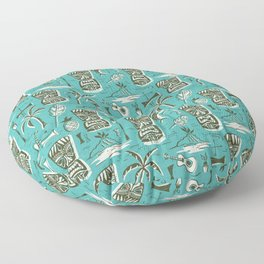 Tropical Tiki - Aqua Floor Pillow