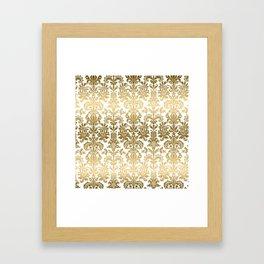 White & Gold Floral Damask Pattern Framed Art Print