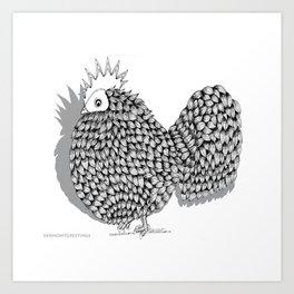Zentangle  Funky Chicken Illustration Art Print