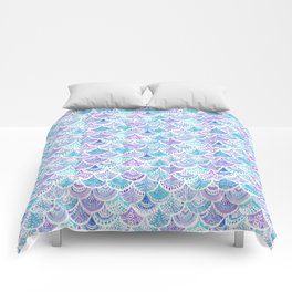 Mystical MERMAID DAYDREAMS Watercolor Scales Comforters
