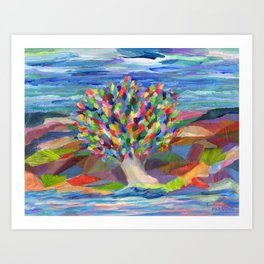 Dream Tree, a colorful acrylic expression of hopes and dreams Art Print