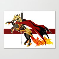 smaug Canvas Prints featuring Smaug by MarieJacquelyn