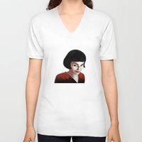 amelie V-neck T-shirts featuring Amelie by Jon Cain