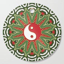 Red Yin Yang Sun Festive Mandala Cutting Board