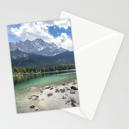 Eibsee lake in Germany in front of the mountain Zugspitze during daytime Stationery Cards