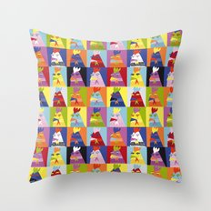 Pop art chickens Throw Pillow