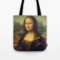 mona lisa Tote Bags featuring Mona Lisa by TilenHrovatic