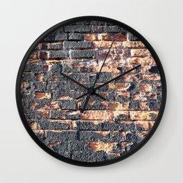 black orange urban worn damaged brick wall photo texture Wall Clock