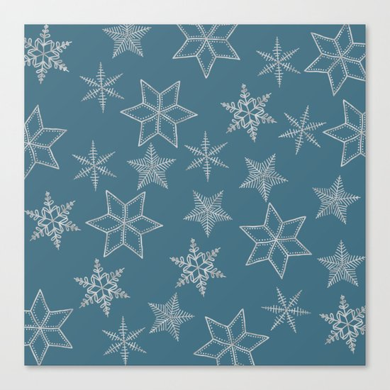 Silver Snowfakes On Teal Background Canvas Print