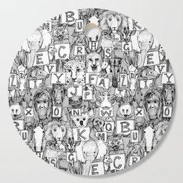 animal ABC black white Cutting Board