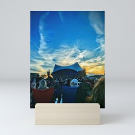 Rockin on the river stage in sky what a band is playing on this beautiful night Mini Art Print