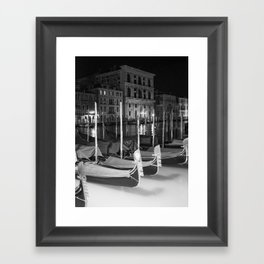 Gondolas in the night Venice Italy black and white Framed Art Print