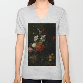 "Ernest Stuven ""Poppies, lilies, roses and other flowers in a glass vase on a draped marble ledge"" Unisex V-Neck"