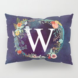 Personalized Monogram Initial Letter W Floral Wreath Artwork Pillow Sham