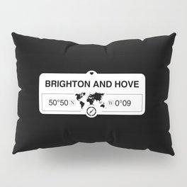 Brighton and Hove England Map GPS Coordinates Pillow Sham