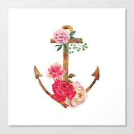 floral rusted anchor Canvas Print