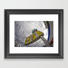 Double R Diner sign in Twin Peaks (Fisheye) Framed Art Print