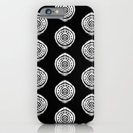 Black and White Ikat Pattern iPhone Case