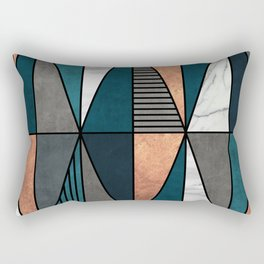 Copper, Marble and Concrete Triangles with Blue Rectangular Pillow