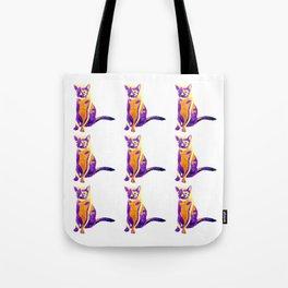 Electric Ocean: Neon Cat Tote Bag