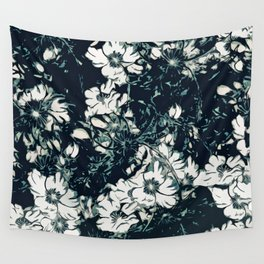 Green, Black, and White Abstract Floral Print Wall Tapestry