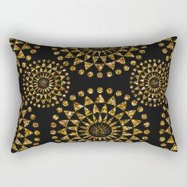 Gold glamour faux glitter ornament shimmering black Rectangular Pillow