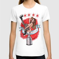blackhawks T-shirts featuring Chicago Cup win 2015 pin up girl by Carla Wyzgala by carlations: Carla Wyzgala illustrations