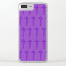 Medical ID Print (Purple) Clear iPhone Case