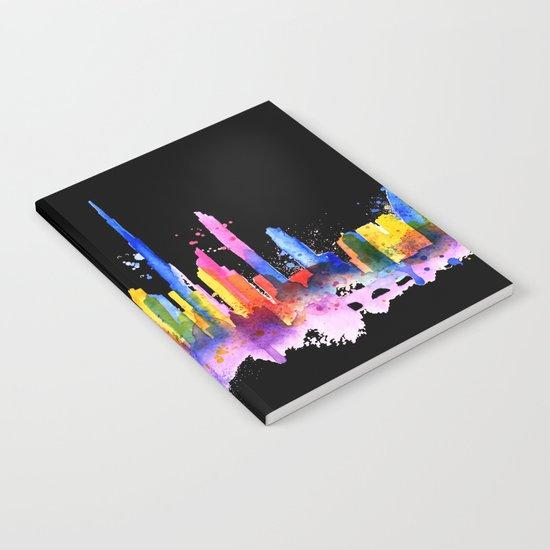 Color Dubai Skyline on Black Notebook