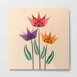 Retro tulips Metal Print