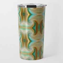 Blue-green and Brown pattern Travel Mug