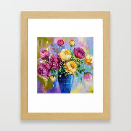 Bouquet of peonies in a vase Framed Art Print