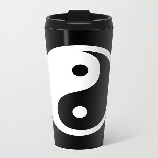 Yin Yang Black White Metal Travel Mug