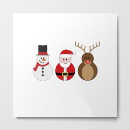 Santa Claus, Rudolph the Red Nosed Reindeer & Frosty Metal Print