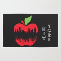 new york Area & Throw Rugs featuring NEW YORK, NEW YORK by mark ashkenazi
