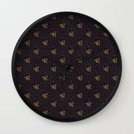 Gold Ek Onkar / Ik Onkar pattern on black Wall Clock