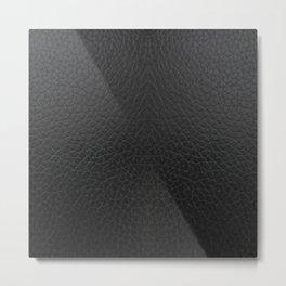 Black faux leather texture Metal Print
