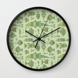 Funny fishes on green background Wall Clock