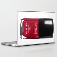 nail polish Laptop & iPad Skins featuring Nail Polish Rouge Rubis by BeckiBoos