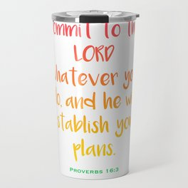 Commit To The Lord Whatever You Do, And He Will Establish Your Plans - Mint & Pink Cherry Blossoms Travel Mug