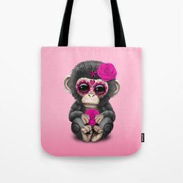 Pink Day of the Dead Sugar Skull Baby Chimp Tote Bag