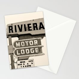 Vintage Neon Sign - Riviera Motor Lodge - Tucson Stationery Cards