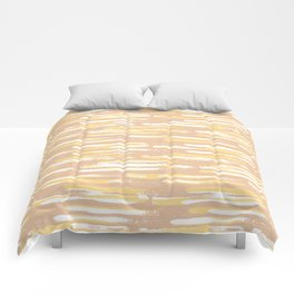 Colorful Stripes, Blush Pink and Yellow, Abstract Art Comforters
