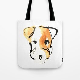 Black Ink and Watercolor Jack Russell Terrier Dog Tote Bag