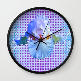 AWESOME BLUISH-WHITE PASTEL IRIS OPTICAL ART Wall Clock