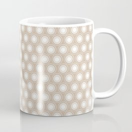 White Polka Dots and Circles Pattern on Pantone Hazelnut Coffee Mug