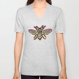 Save The Bees, Linocut - Sales Donated To NAPPC Unisex V-Neck
