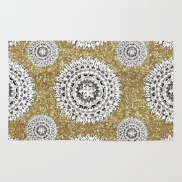 Gold litter and Silver Mandala Patterned Textile Rug