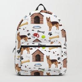 German Shepherd Dog Half Drop Repeat Pattern Backpack