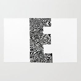 Alphabet Letter E Impact Bold Abstract Pattern (ink drawing) Rug